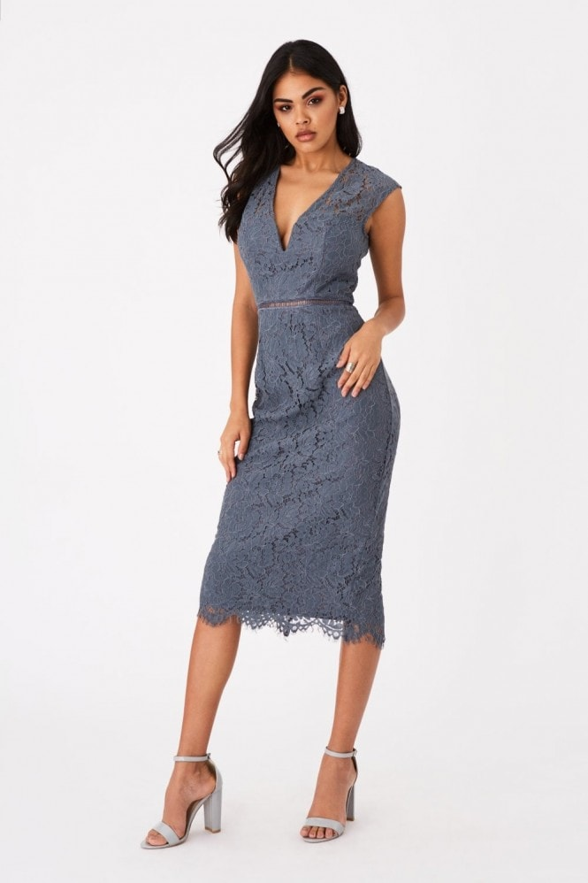 Girls on Film Caro Slate Grey Lace Plunge Midi Dress 2