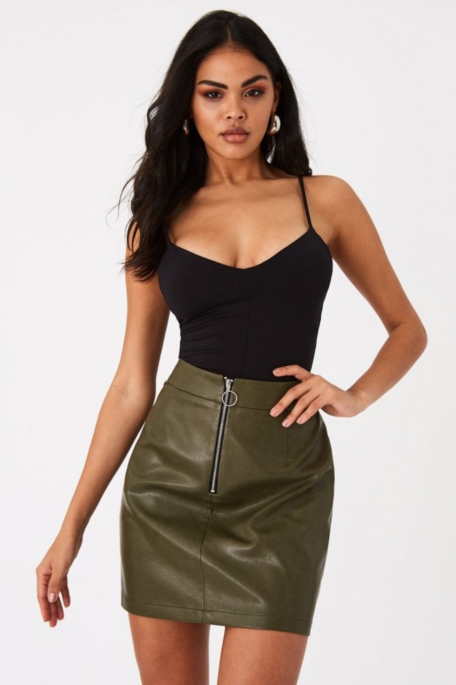 Girls on Film Valdez Khaki Faux-Leather O-Ring Mini Skirt