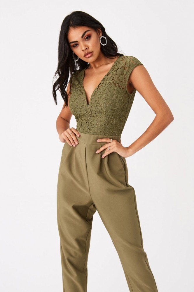 Girls on Film Marcella Khaki Lace Plunge Jumpsuit
