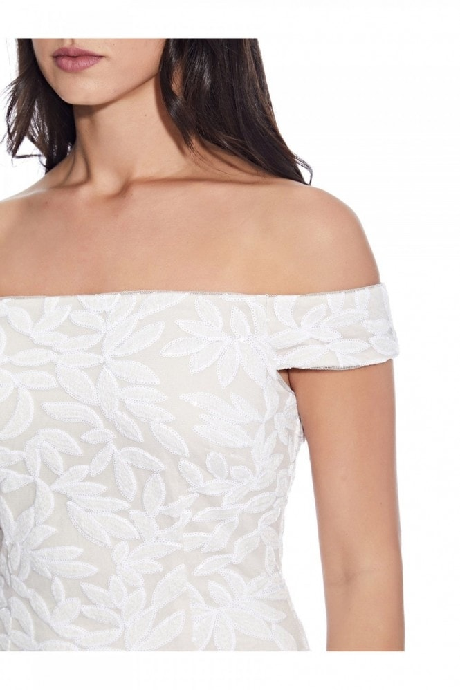 Adrianna Papell Sequin Off-The-Shoulder Dress In Ivory/Pale Shell