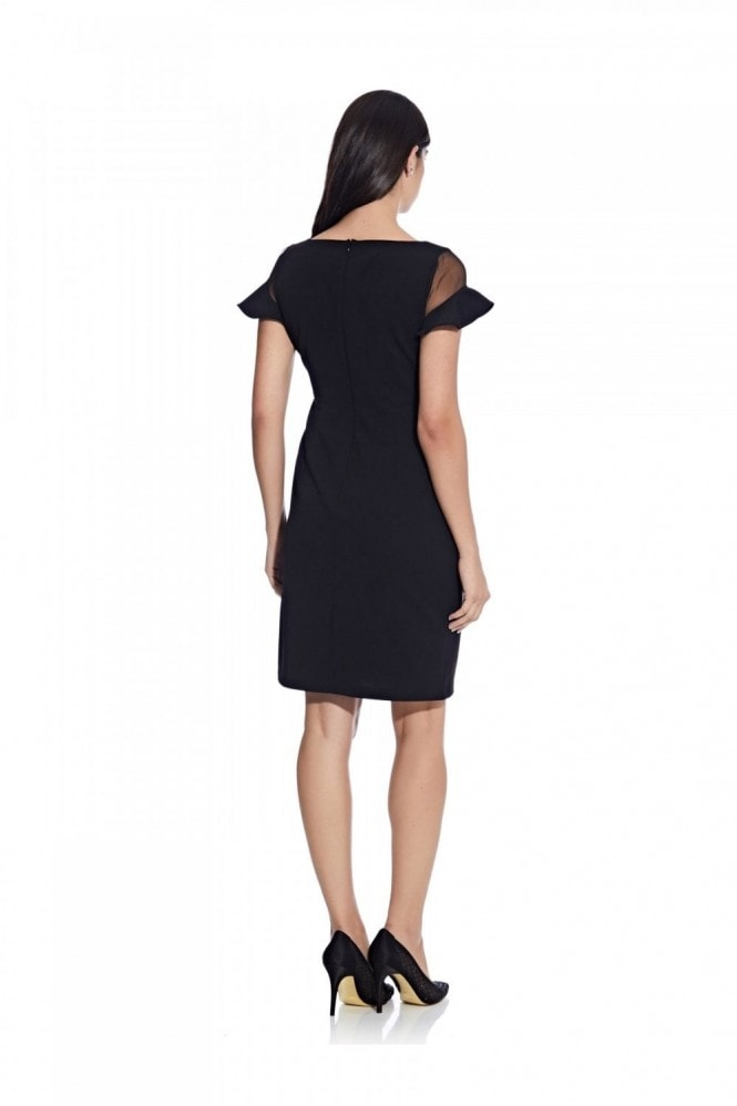 Adrianna Papell Knit Crepe Illusion Dress In Black
