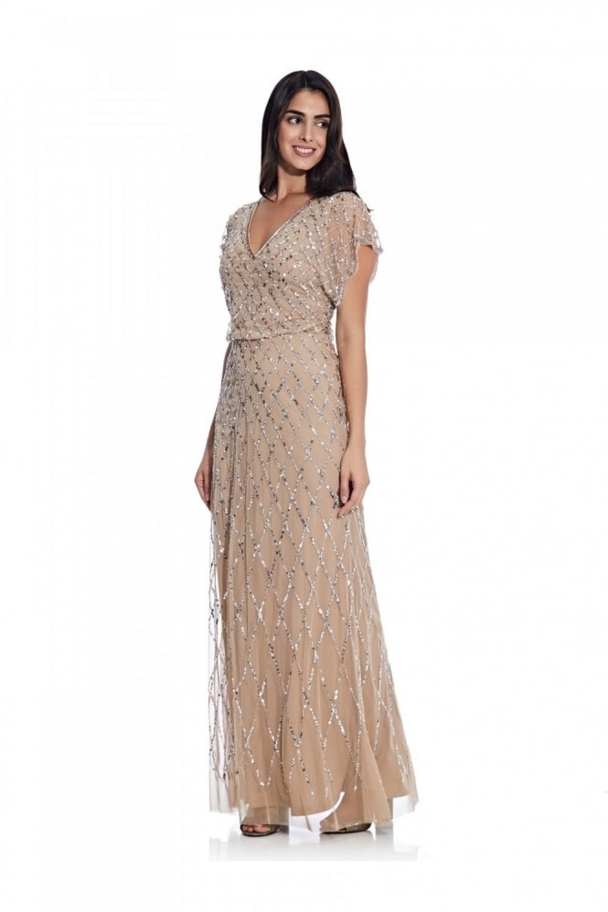 Adrianna Papell Blouson Beaded Dress In Champagne/Silver