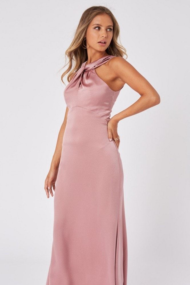 Little Mistress Bridesmaid Rosetta Dusty Blush Satin Halterneck Maxi Dress