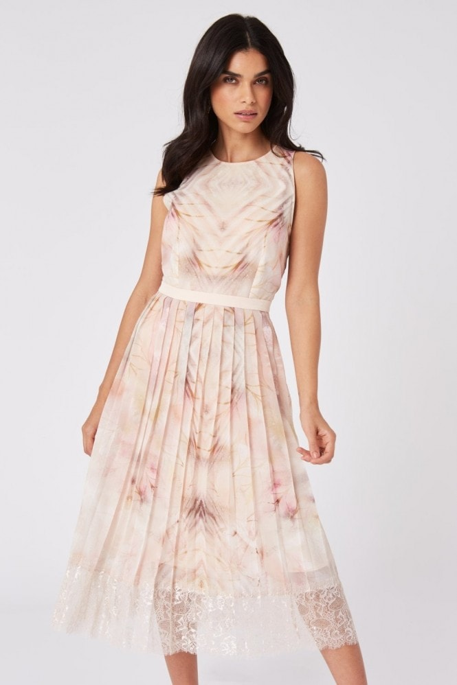 Little Mistress Faye Kaleidoscope-Print Pleated Midi Dress