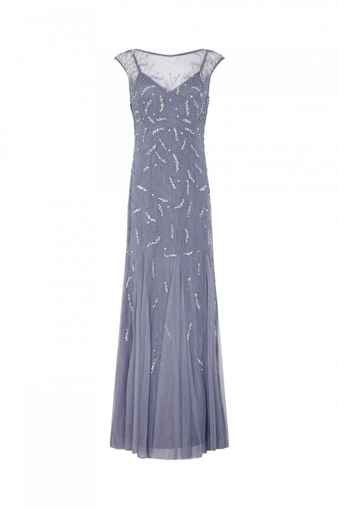 Adrianna Papell Cap Sleeve Beaded Gown In Cool Wisteria