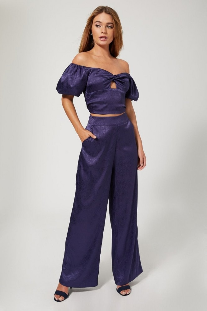 Outrageous Fortune Rosenthal Navy Satin Puff Sleeve Crop Top