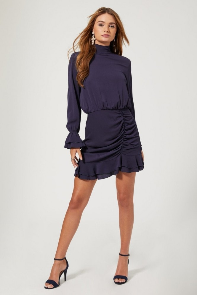 Outrageous Fortune Reilly Navy Tie-Back Ruched Mini Dress