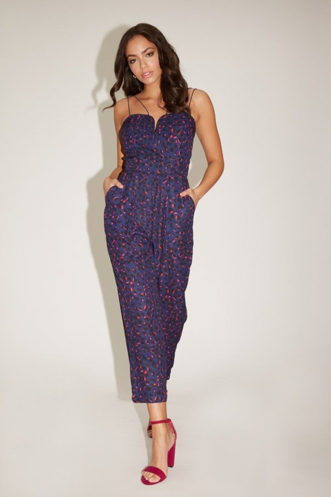 Girls on Film Florence Navy Leopard-Print Jumpsuit