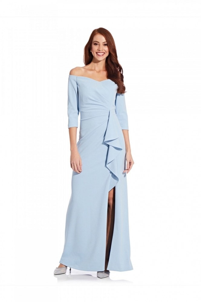 Adrianna Papell Off Shoulder Crepe Gown In Blue Mist