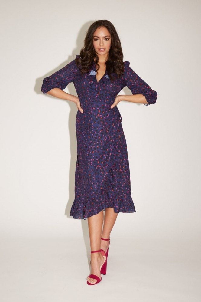 Girls on Film Acapulco Navy Leopard-Print Midi Wrap Dress