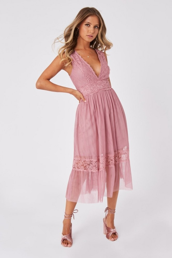 Little Mistress Rosetta Dusty Blush Lace-Trim Midi Dress