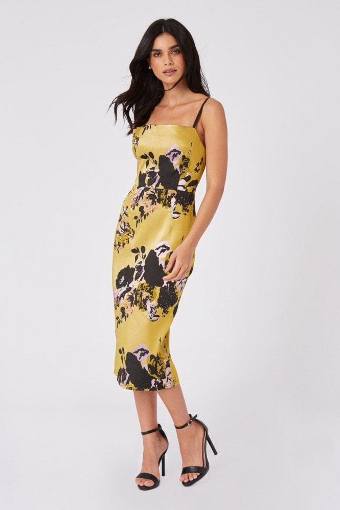 Little Mistress Robin Yellow Floral Jacquard Midi Bodycon Dress