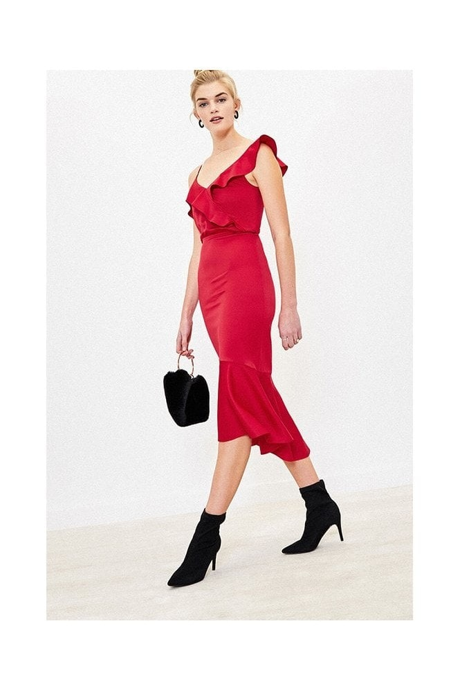 Oasis SATIN PEPLUM FISHTAIL DRESS IN MID RED