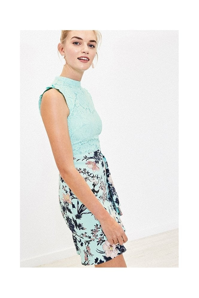 Oasis TASHA FLORAL LACE TOP SKATER IN TURQUOISE