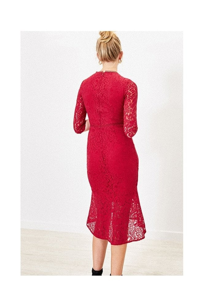 Oasis LACE FISHTAIL DRESS IN MID RED