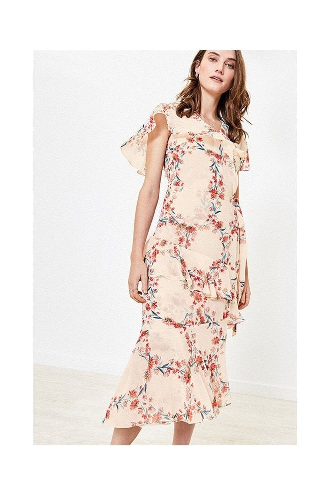 Oasis REBECCA FLORAL RUFFLE MIDI IN MULTI NATURAL