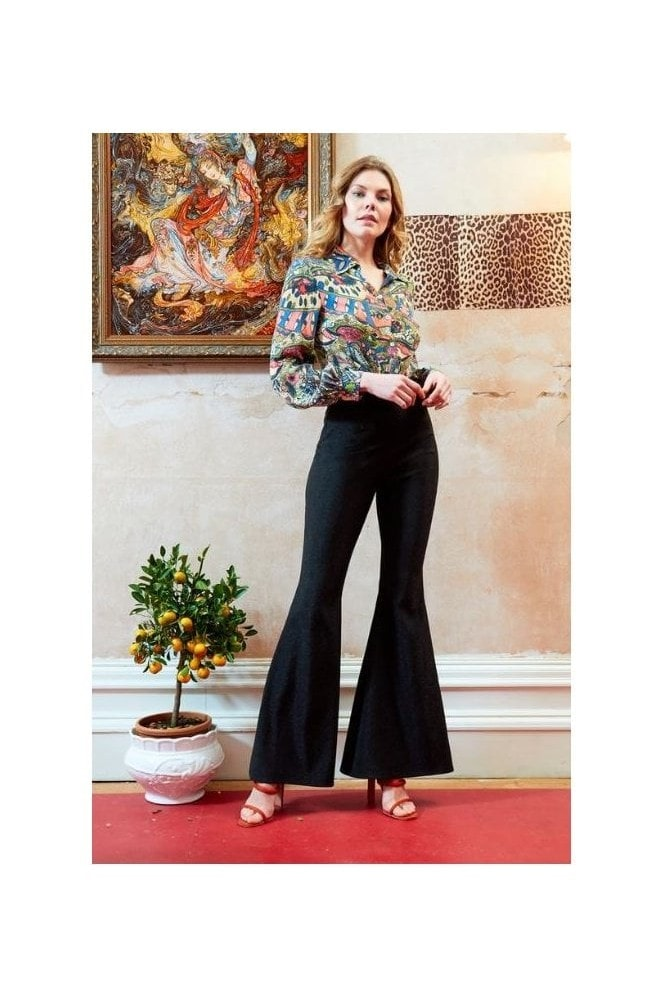 Sarvin OUTLET HIGH WAISTED FLARED SHIMMERY TROUSERS