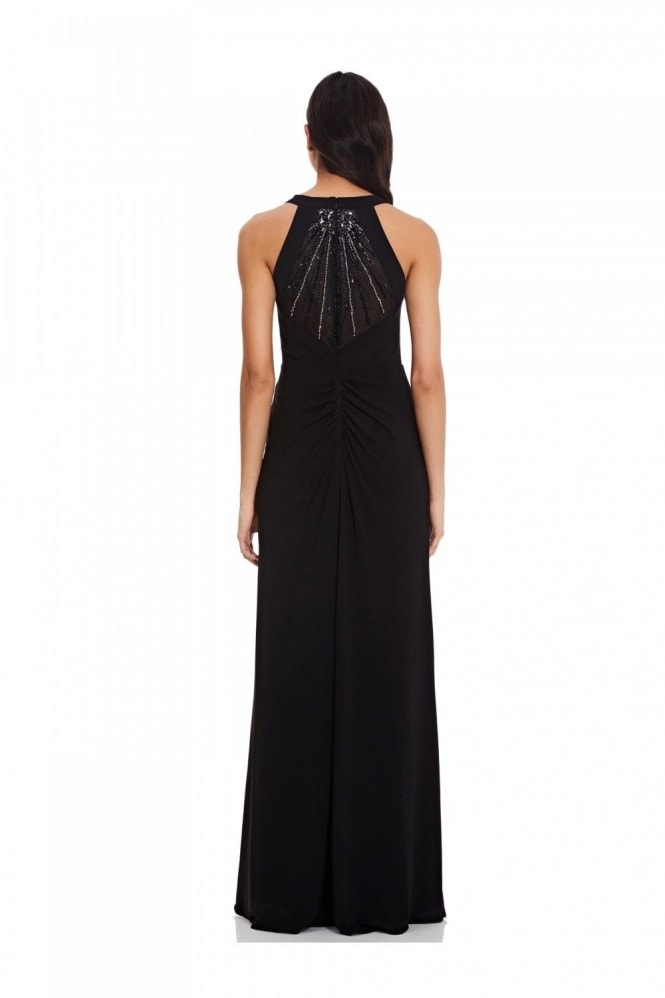Adrianna Papell Jersey Halter Beaded Back In Black