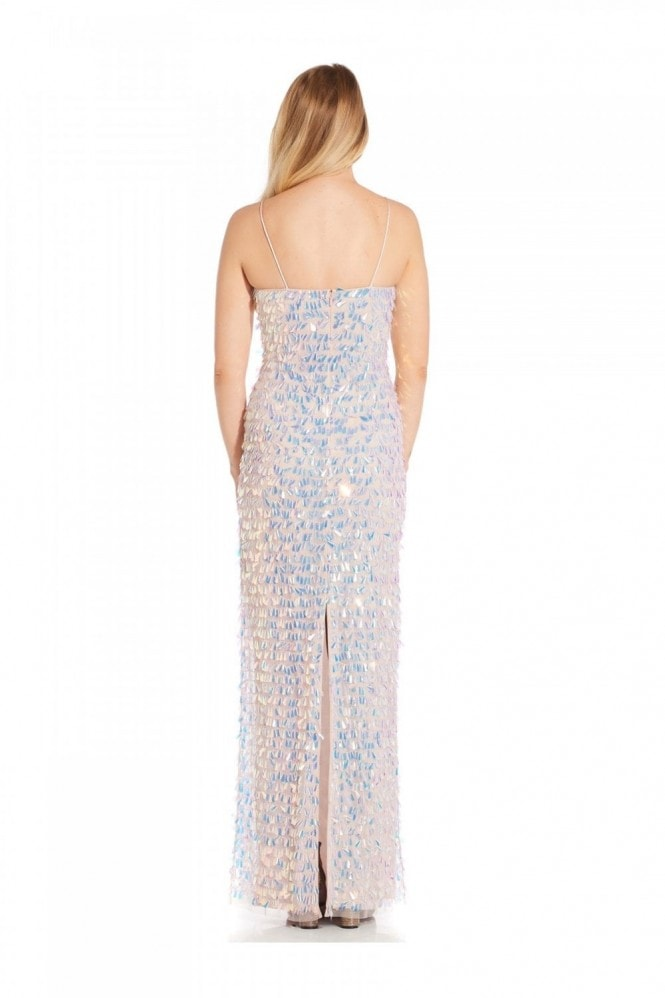 Adrianna Papell Beaded Slim Column Gown In Shell