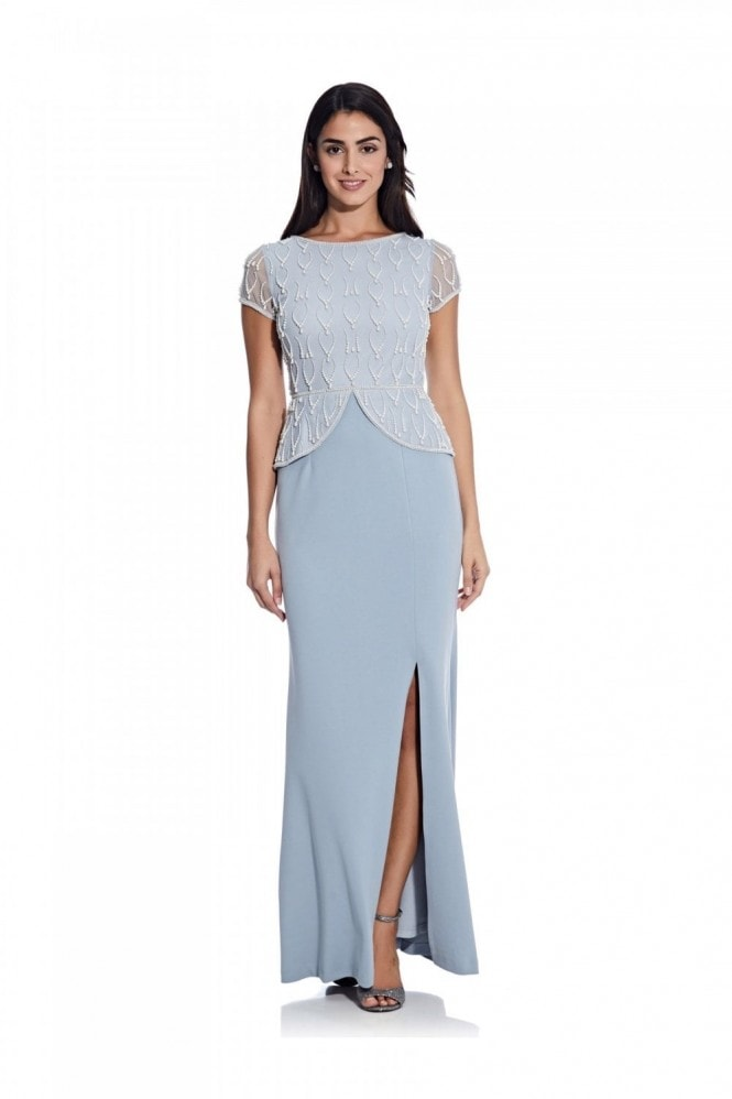 Adrianna Papell Bead Crepe Peplum Gown In Blue Heather