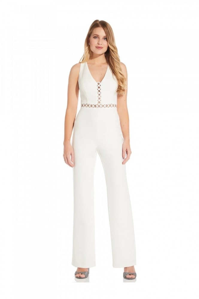Adrianna Papell Racer Back Jumpsuit In Ivory