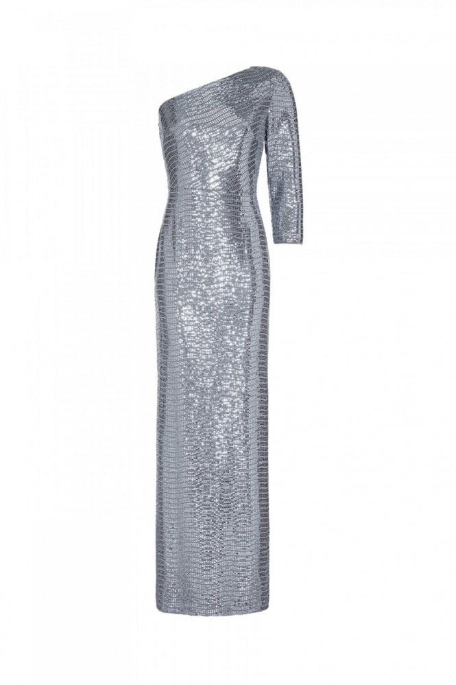 Adrianna Papell Mirror Foil One Shoulder Gown In Dutch Blue