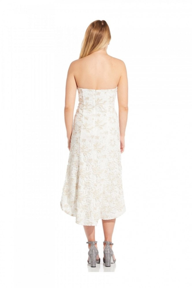 Adrianna Papell Guipure Lace Dress In Ivory/Gold