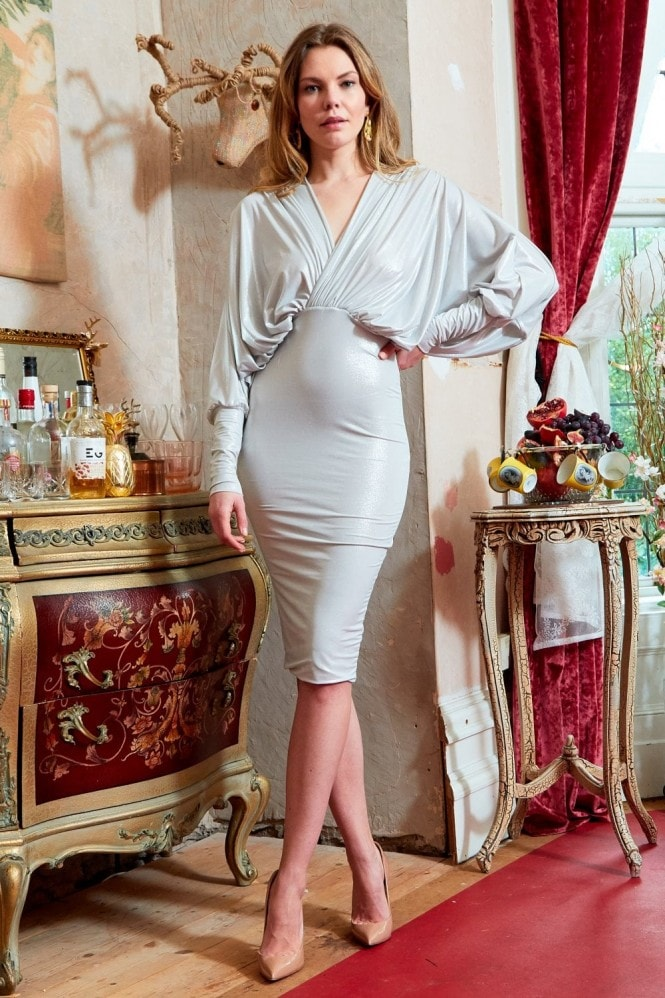 Sarvin Metallic plunge front and back batwing midi dress