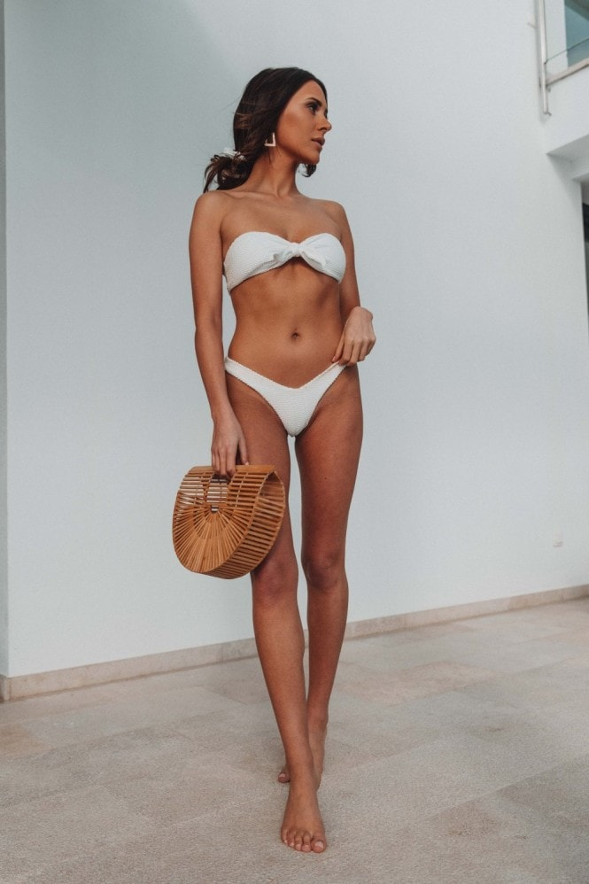Vana Europe Beau Ivory Textured Bow Bikini Top