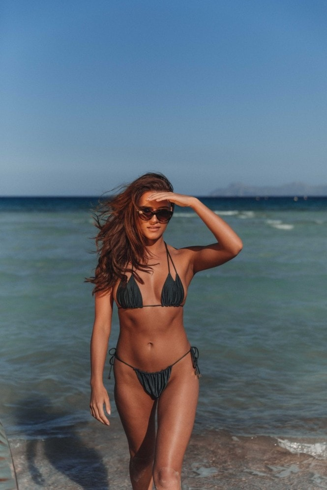 Vana Europe Lily Gunmetal Grey Tie Side Bikini Bottoms
