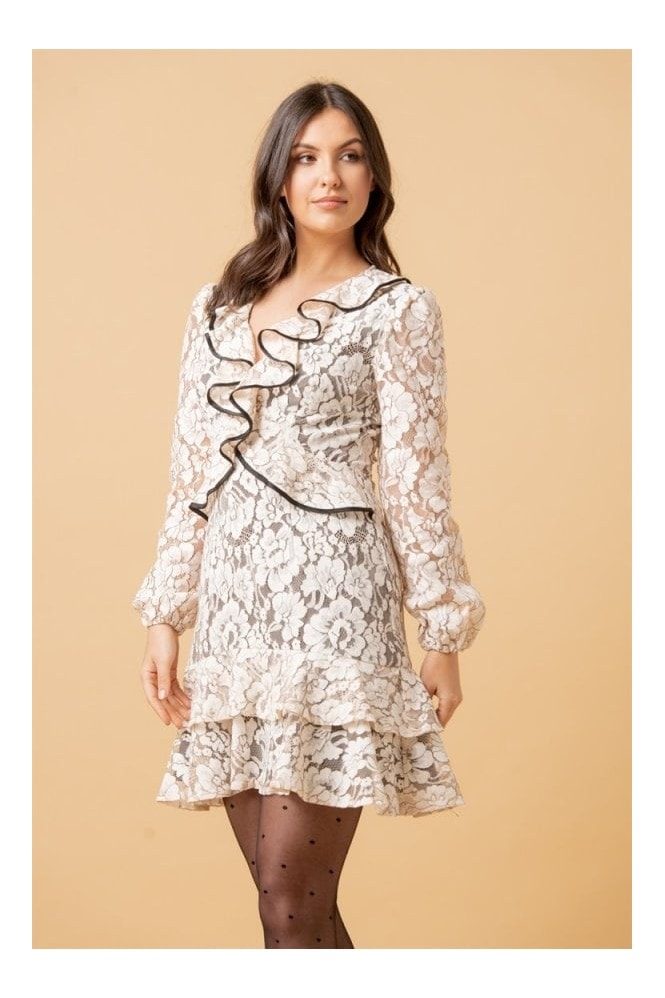 LIENA Nude Floral Lace Frill Long Sleeve Mini Dress