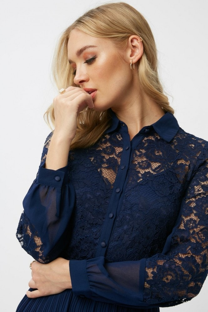 Little Mistress Aliza Navy Lace Midi Shirt Dress