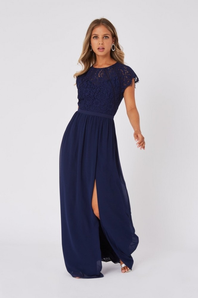 Little Mistress Bridesmaid Sonja Navy Lace Maxi Dress