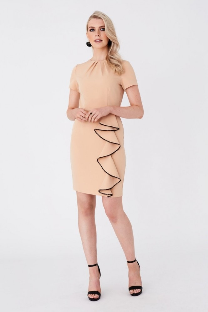 Paper Dolls Alina Sakura Nude Frill Bodycon Dress