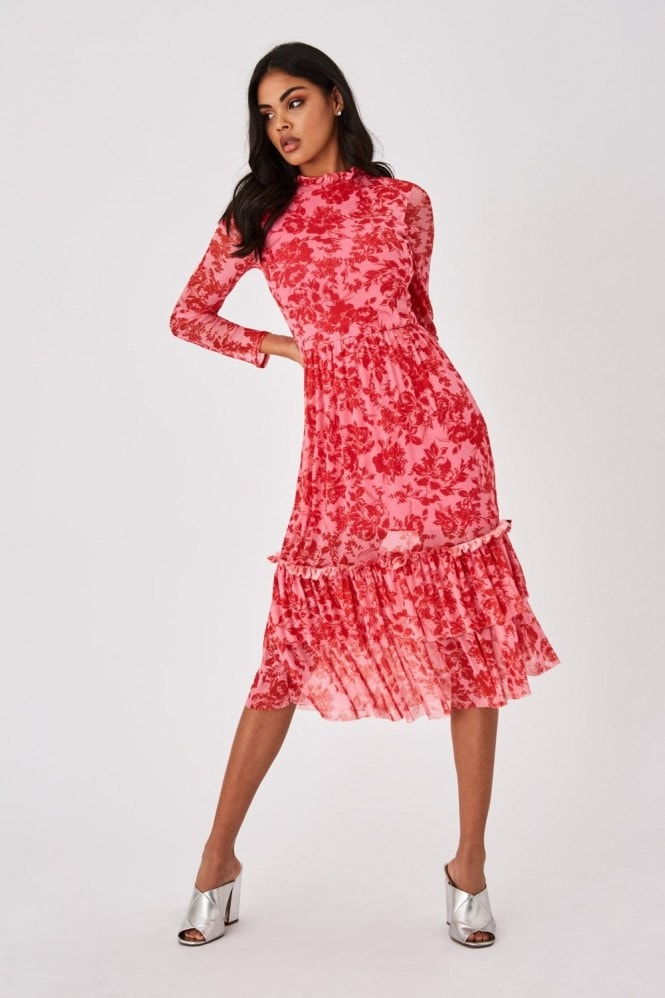 Little Mistress Fleetwood Pink Floral-Print Mesh Midi Dress