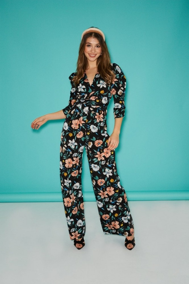 Little Mistress Morello Black Floral-Print Jumpsuit