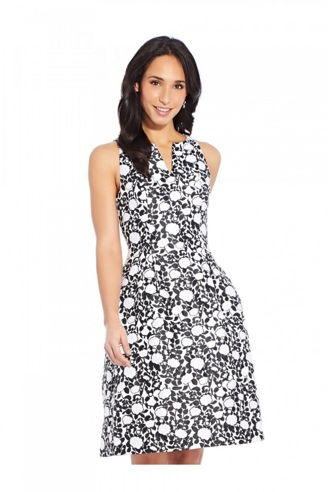 Adrianna Papell Floral Jacquard Fit And Flare Dress
