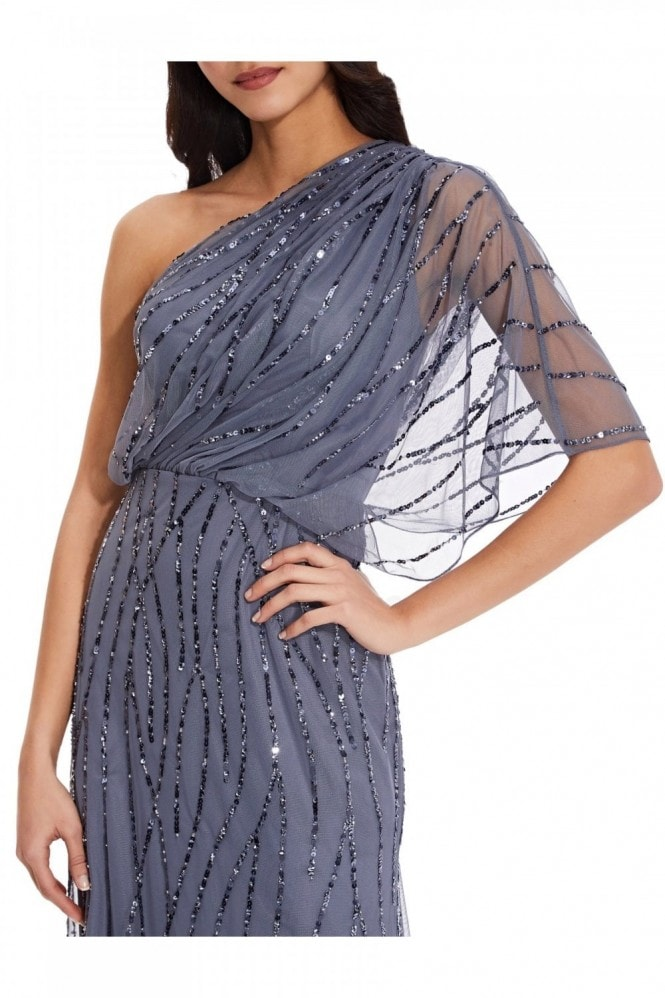 Adrianna Papell Long One Shoulder Beaded Dress