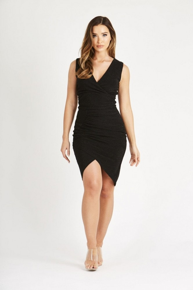Skirt & Stiletto Black Mini Dress with Front Panel