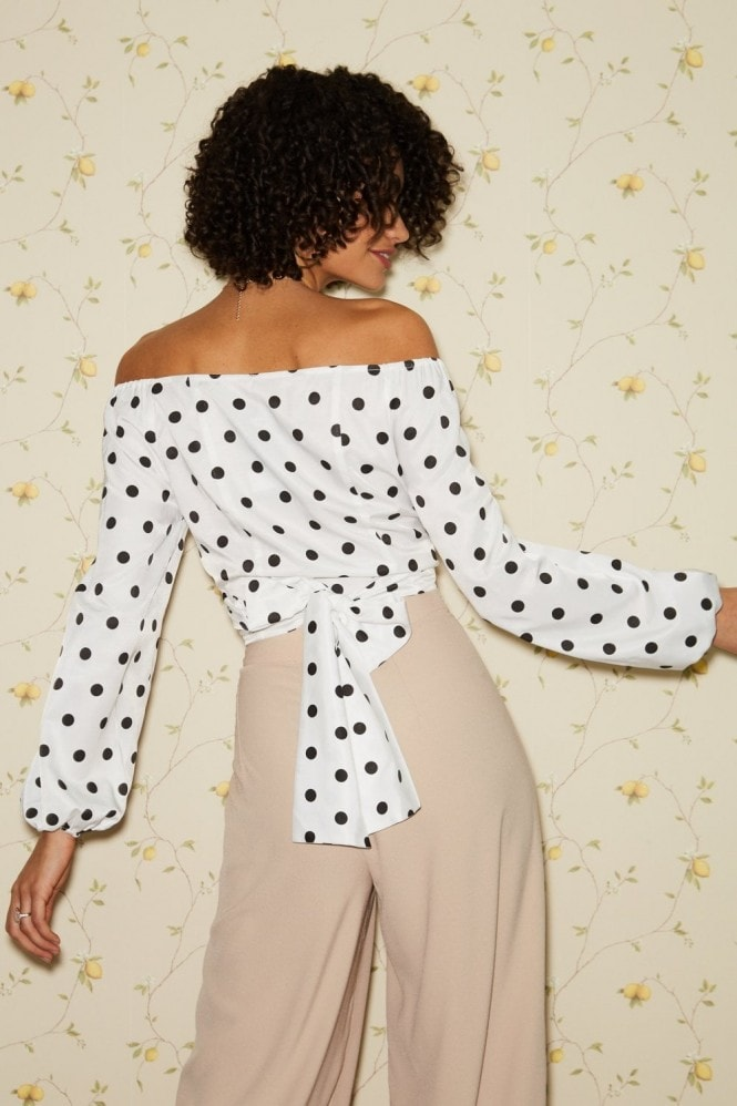 Little Mistress Mist White Polka-Dot Wrap-Around Crop Top