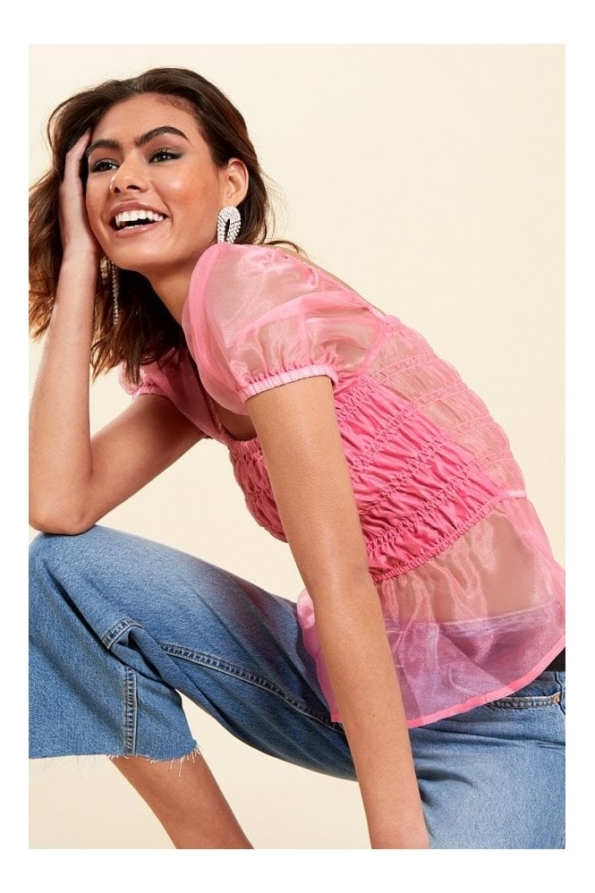 Wednesday's Girl Pink Satin Milkmaid Ruched Panel Top