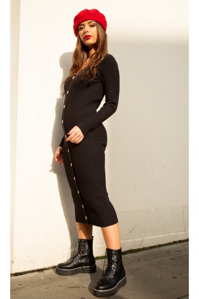 SlayTwins Sofia Knitted Long Sleeve Midi Dress with Buttons in Black 2