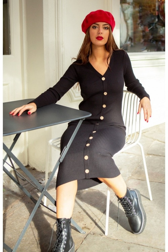 SlayTwins Sofia Knitted Long Sleeve Midi Dress with Buttons in Black