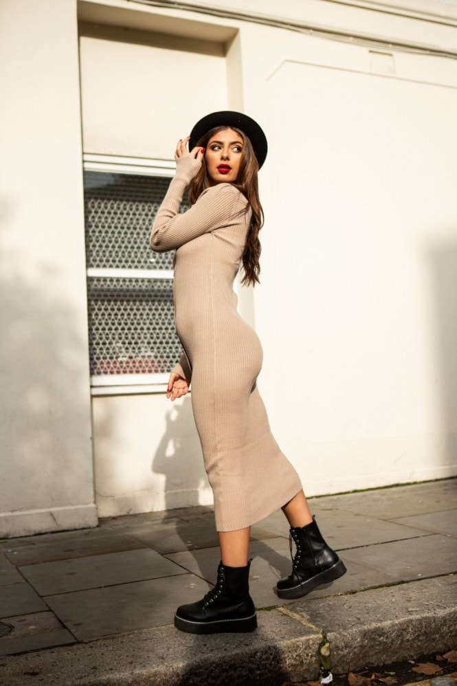SlayTwins Sofia Knitted Long Sleeve Midi Dress with Buttons in Beige