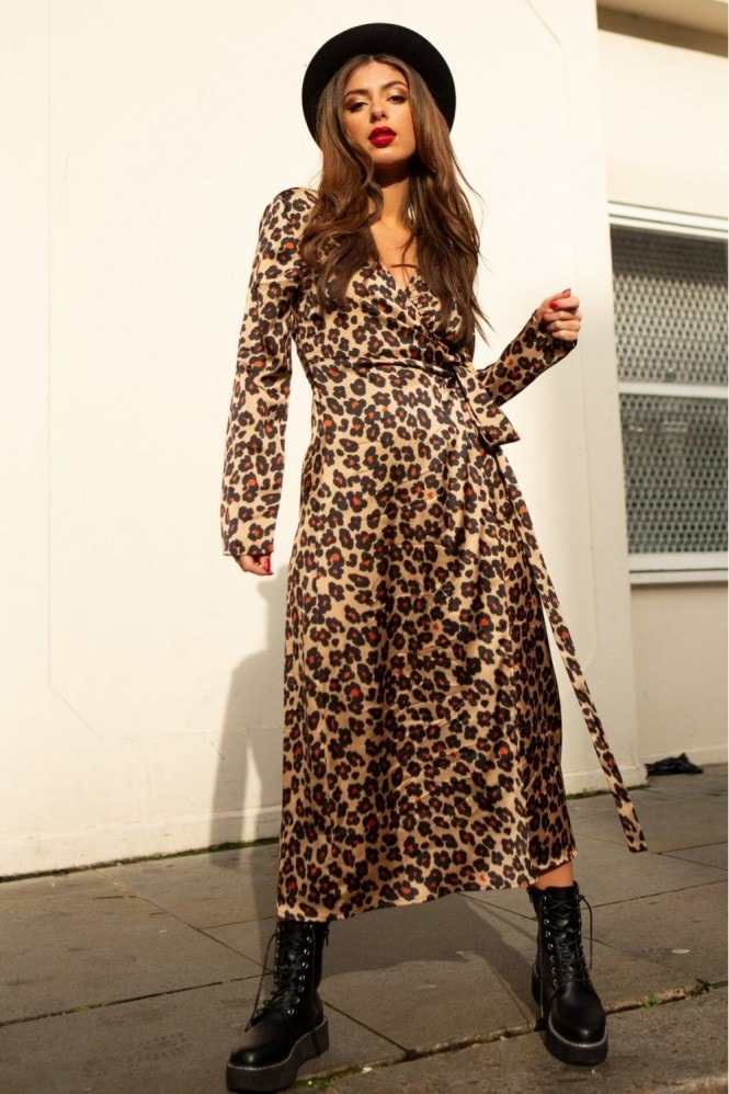 SlayTwins Suki Long Sleeve Wrap Midi Dress in Leopard Print