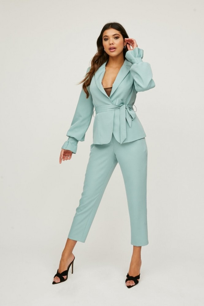 Little Mistress Limitless Sage Buckle Detail Trousers Co-ord