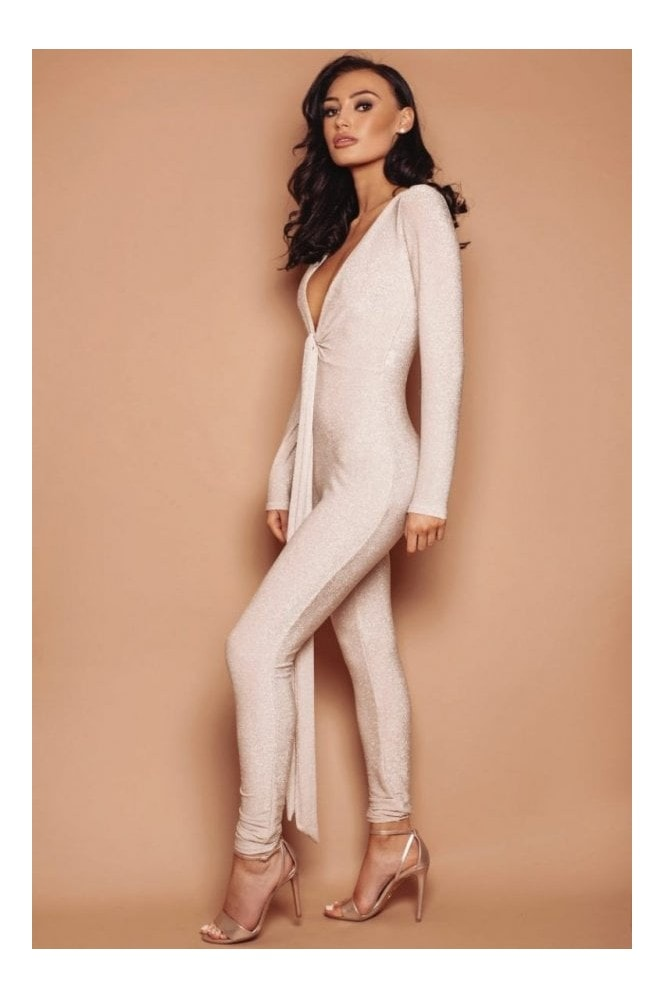 LEMONLUNAR The Sasha Sparkle Jumpsuit Nude
