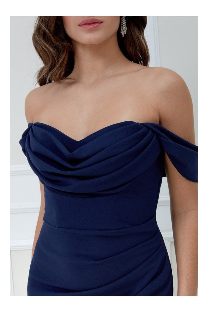 Goddiva Cowl Neck Off the Shoulder Maxi Dress - Navy
