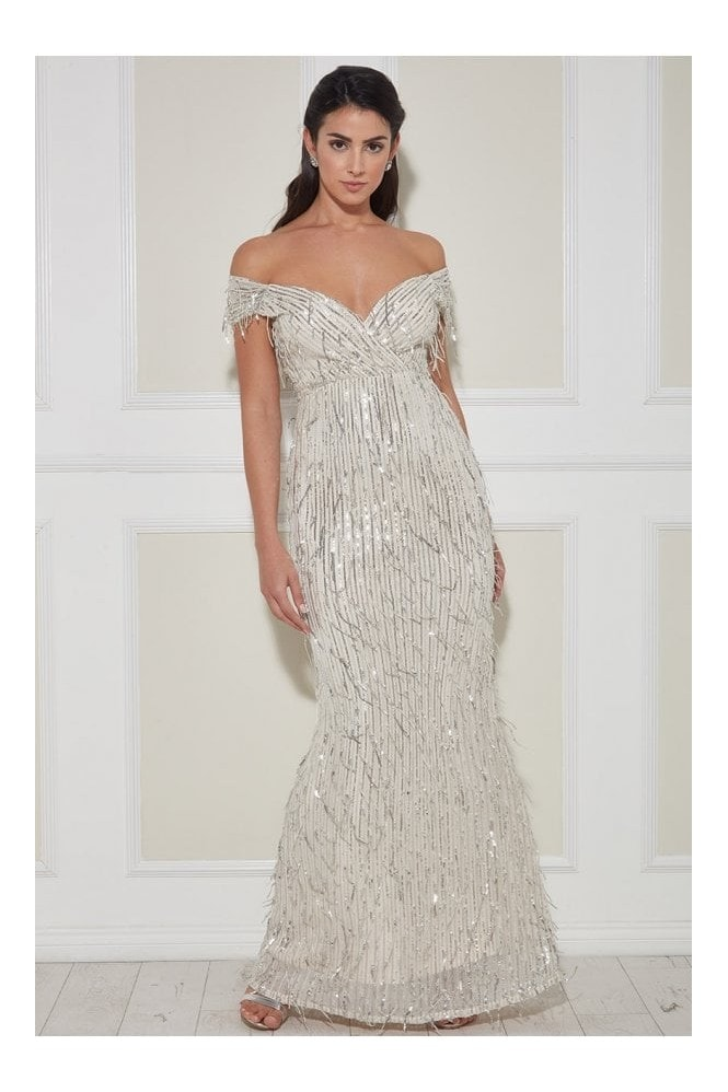 Goddiva Front Wrap Hanging Sequin Maxi Dress - Champagne