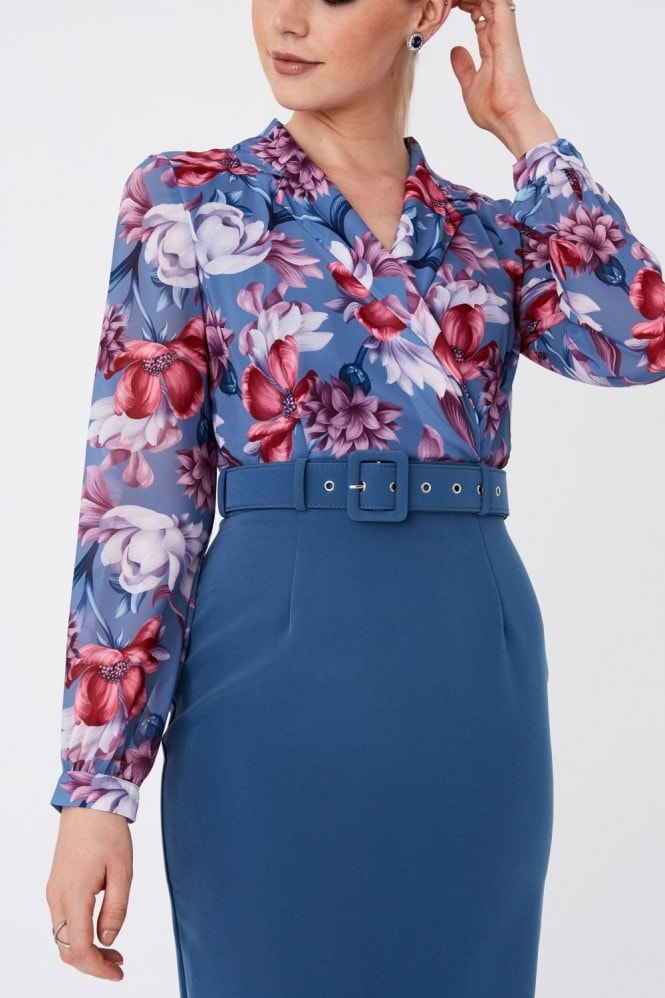Paper Dolls Anjo Blue Floral-Print Belted Shirt Dress